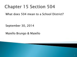 Chapter 15 Section 504