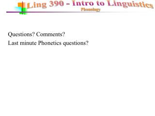 Questions? Comments? Last minute Phonetics questions?