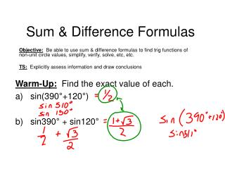 Sum & Difference Formulas