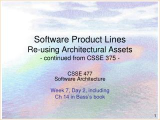 Software Product Lines Re-using Architectural Assets - continued from CSSE 375 -