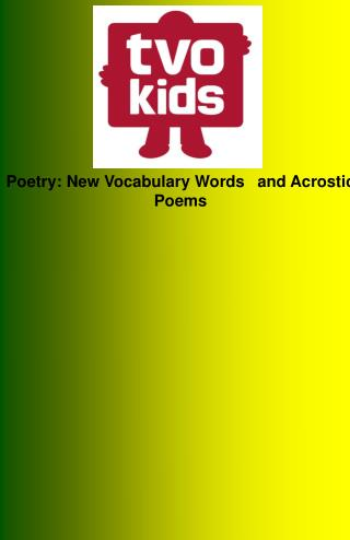 Poetry: New Vocabulary Words 
