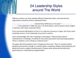 24 Leadership Styles  around The World