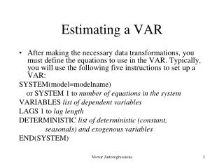 Estimating a VAR