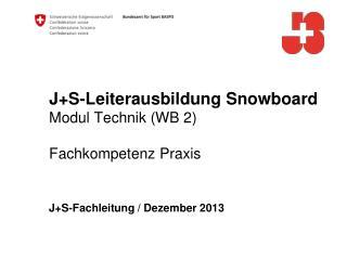 J+S-Leiterausbildung  Snowboard Modul Technik (WB 2) Fachkompetenz Praxis