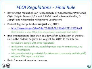 FCOI Regulations - Final Rule