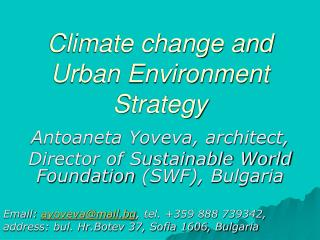 Climate change and Urban Environment Strategy