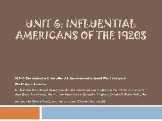 Unit 6: Influential Americans of the 1920s