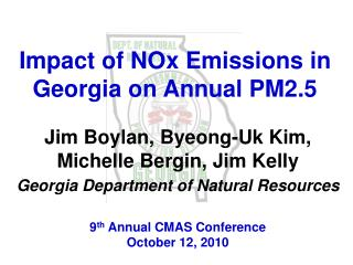 Impact of NOx Emissions in Georgia on Annual PM2.5