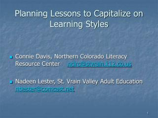 Planning Lessons to Capitalize on Learning Styles