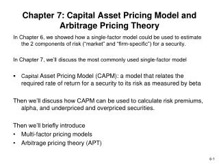 Chapter 7: Capital Asset Pricing Model and Arbitrage Pricing Theory