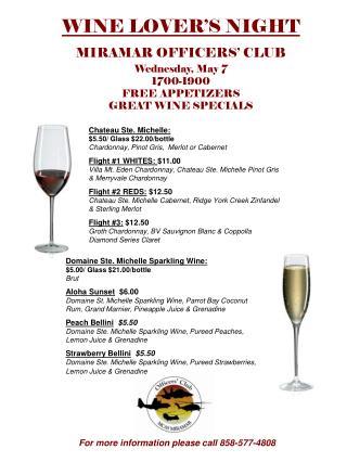 Domaine Ste. Michelle Sparkling Wine:                       $5.00/ Glass $21.00/bottle Brut