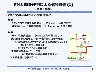 PM と SSB+PM による信号取得  (1) -  概要と特徴  -