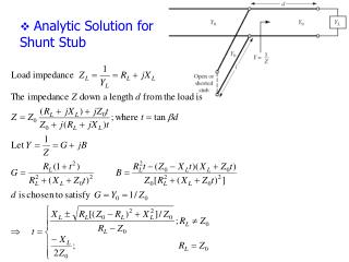 Analytic Solution for Shunt Stub