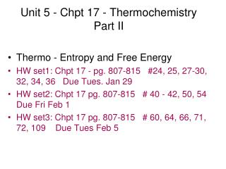 Unit 5 - Chpt 17 - Thermochemistry Part II