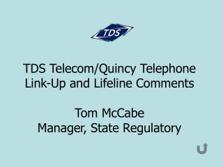 TDS Telecom/Quincy Telephone Link-Up and Lifeline Comments Tom McCabe Manager, State Regulatory