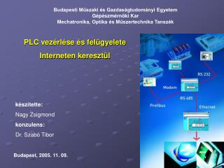 PLC vezérlése és felügyelete  Interneten keresztül