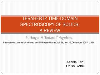TERAHERTZ TIME-DOMAIN SPECTROSCOPY OF SOLIDS: A REVIEW