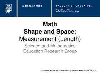Math Shape and Space:  Measurement (Length)