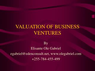 VALUATION OF BUSINESS VENTURES