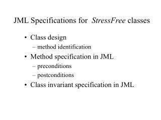 JML Specifications for   StressFree  classes