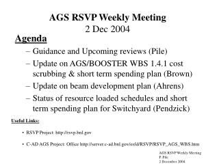 AGS RSVP Weekly Meeting 2 Dec 2004