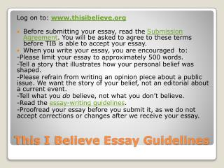 This I Believe Essay Guidelines