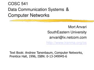 COSC 541 Data Communication Systems & Computer Networks