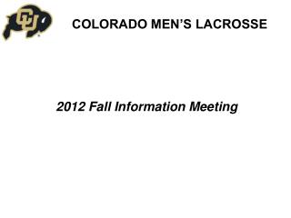 2012 Fall Information Meeting