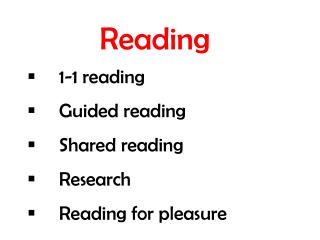 Reading  	1-1 reading  	Guided reading  	Shared reading  	Research  	Reading for pleasure