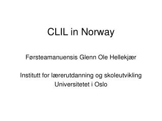 CLIL in Norway