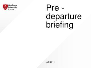Pre - departure briefing