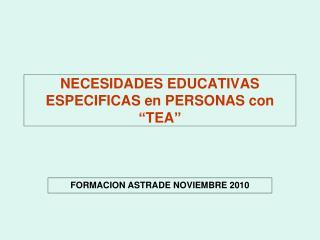 """NECESIDADES EDUCATIVAS ESPECIFICAS en PERSONAS con """"TEA"""""""