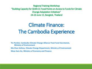 Sources of Climate Finance in Cambodia