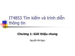 IT4853 Tìm kiếm và trình diễn thông tin