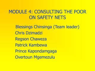 MODULE 4: CONSULTING THE POOR ON SAFETY NETS