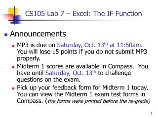 CS105 Lab 7 – Excel: The IF Function