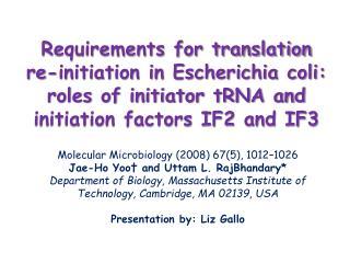 Molecular Microbiology (2008) 67(5), 1012–1026 Jae-Ho Yoo† and Uttam L. RajBhandary*