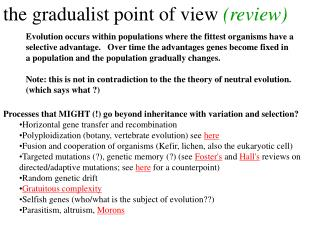 the gradualist point of view  (review)