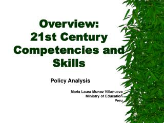 Overview:  21st Century Competencies and Skills