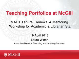 Teaching Portfolios at McGill