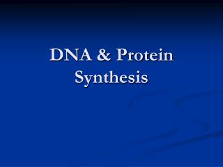 DNA & Protein Synthesis
