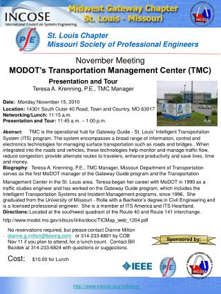 November Meeting MODOT's Transportation Management Center (TMC)