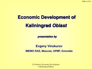 Economic Development of Kaliningrad  Oblast