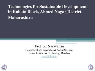 Technologies for Sustainable Development in Rahata Block, Ahmed Nagar District, Maharashtra