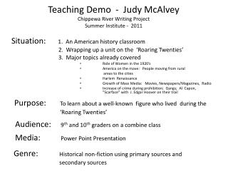 Teaching Demo  -  Judy McAlvey Chippewa River Writing Project Summer Institute -  2011