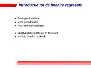 Introductie tot de lineaire regressie