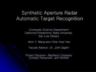 Synthetic Aperture Radar  Automatic Target Recognition