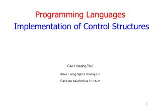 Programming Languages Implementation of Control Structures
