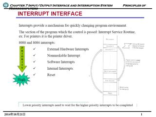 INTERRUPT TYPES SHOWN WITH DECREASING PRIORITY ORDER • Reset • Internal interrupts and exceptions