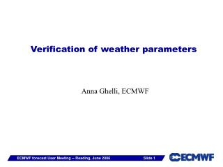 Verification of weather parameters